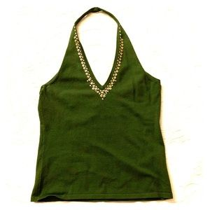 NWT Emerald and Gold Sequin Halter